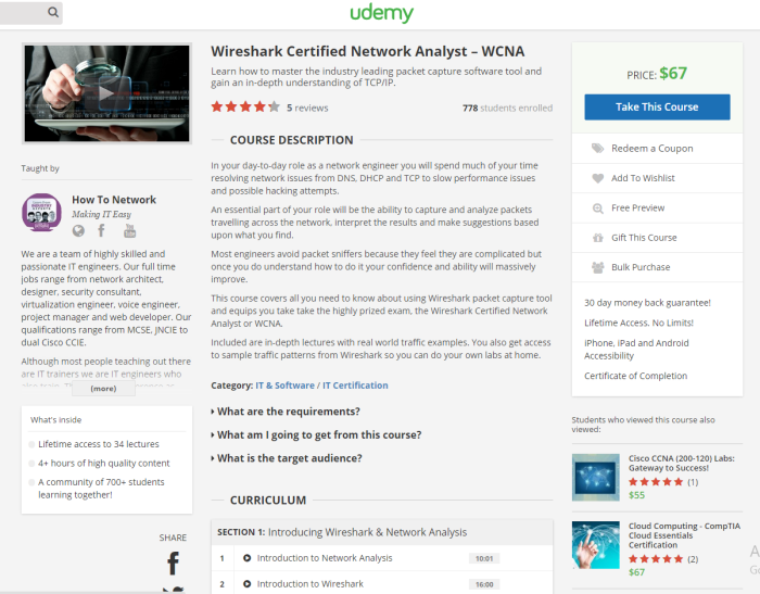 Wireshark Certified Network Analyst WCNA Class on Udemy